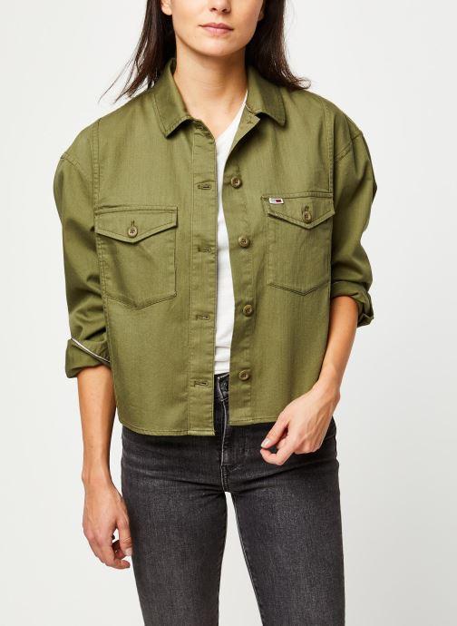 Vêtements Tommy Jeans TJW Surplus Twill Shirt Vert vue détail/paire