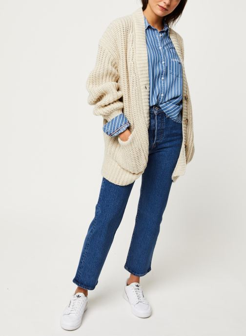 Vêtements Tommy Jeans TJW Cropped Boxy Stripe Shirt Bleu vue bas / vue portée sac