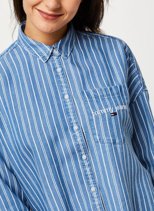 Vêtements Tommy Jeans TJW Cropped Boxy Stripe Shirt Bleu vue face