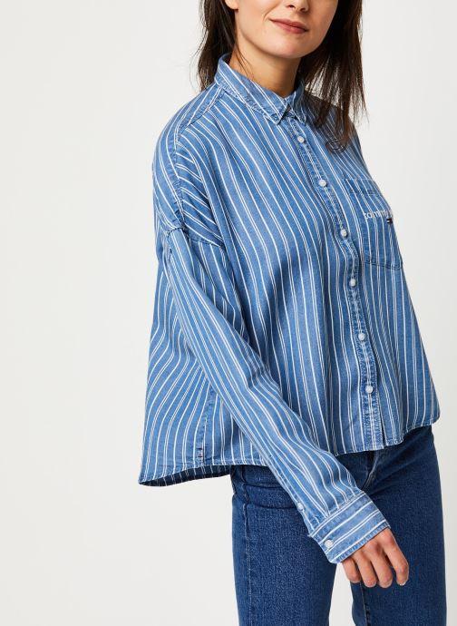 Vêtements Tommy Jeans TJW Cropped Boxy Stripe Shirt Bleu vue droite