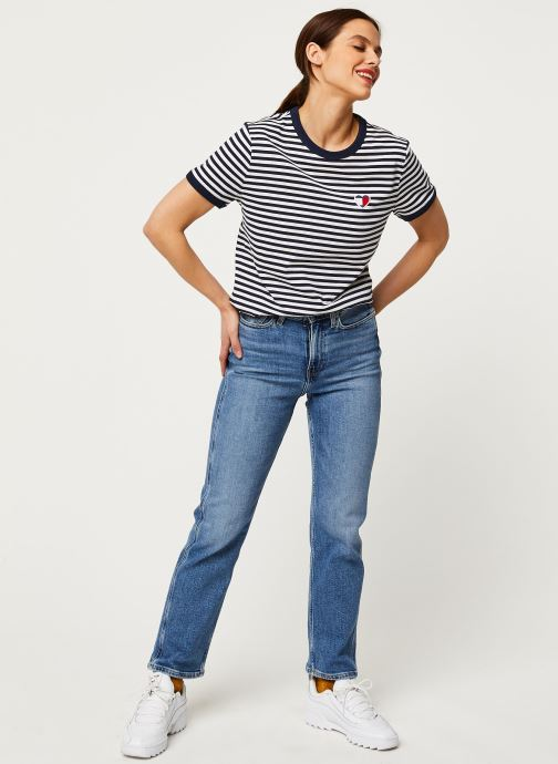 Vêtements Tommy Jeans TJW Stripe Heart Tee Blanc vue bas / vue portée sac
