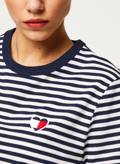 Vêtements Tommy Jeans TJW Stripe Heart Tee Blanc vue face