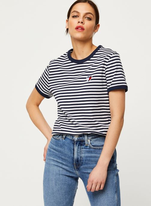 Vêtements Tommy Jeans TJW Stripe Heart Tee Blanc vue droite