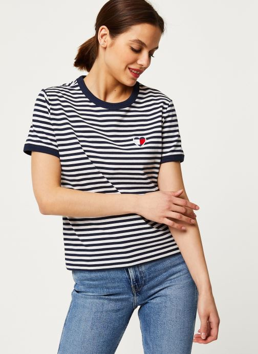 Vêtements Tommy Jeans TJW Stripe Heart Tee Blanc vue détail/paire