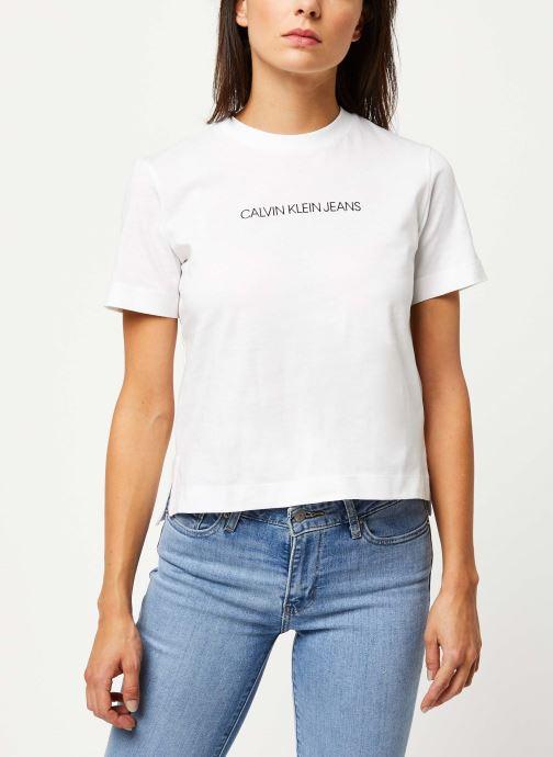 Vêtements Calvin Klein Jeans Shrunken Institutional Logo Tee Blanc vue droite