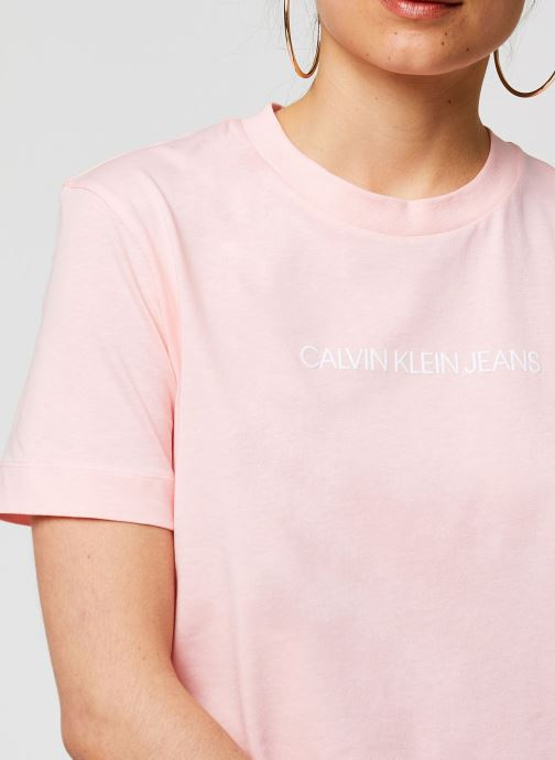 Vêtements Calvin Klein Jeans Shrunken Institutional Logo Tee Rose vue face