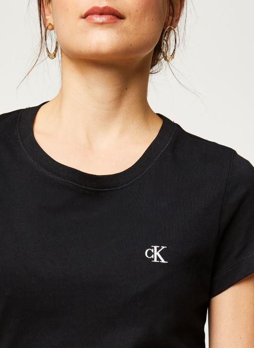 Vêtements Calvin Klein Jeans CK Embroidery Slim Tee Noir vue face