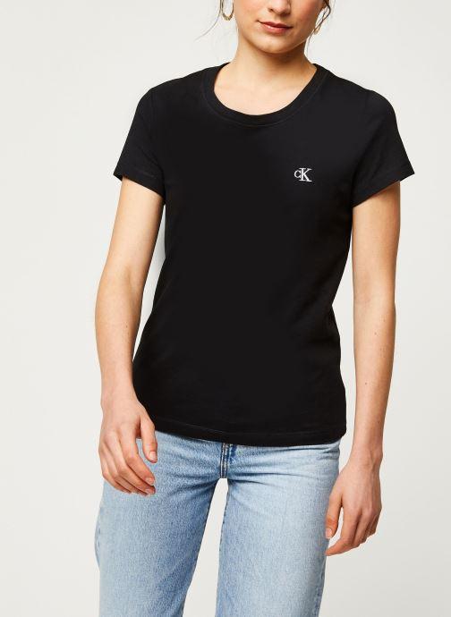 Vêtements Calvin Klein Jeans CK Embroidery Slim Tee Noir vue droite