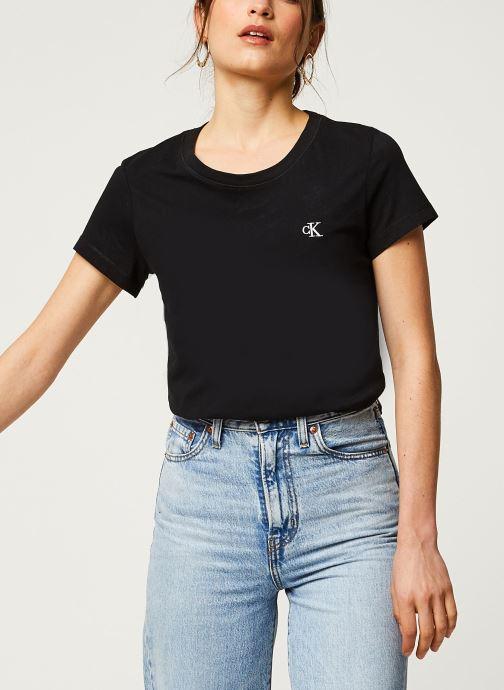 Vêtements Calvin Klein Jeans CK Embroidery Slim Tee Noir vue détail/paire
