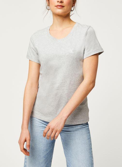 Vêtements Calvin Klein Jeans CK Embroidery Slim Tee Gris vue droite