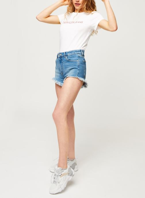 Vêtements Calvin Klein Jeans CK Embroidery Slim Tee Blanc vue bas / vue portée sac