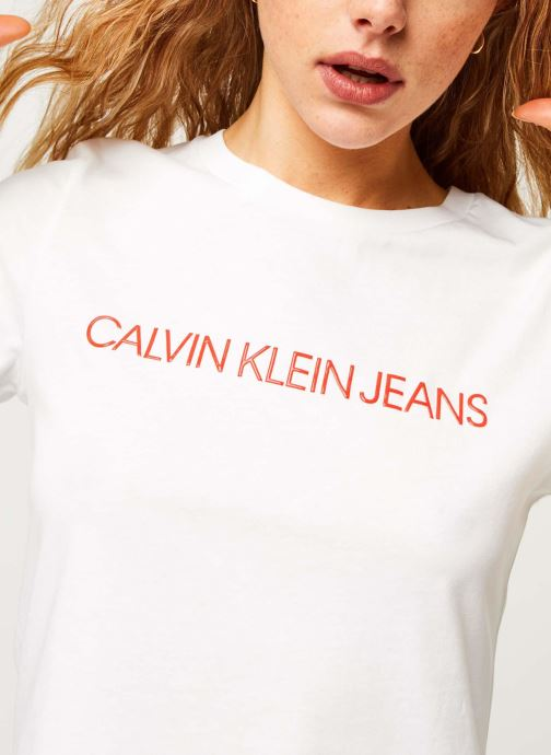 Vêtements Calvin Klein Jeans CK Embroidery Slim Tee Blanc vue face