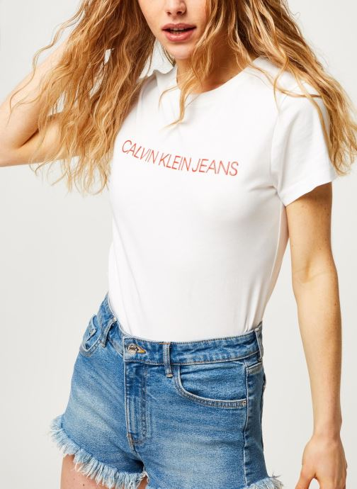 Vêtements Calvin Klein Jeans CK Embroidery Slim Tee Blanc vue détail/paire