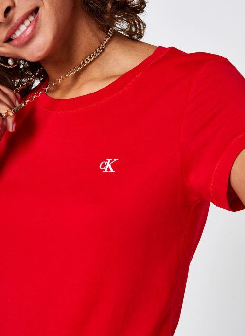 Vêtements Calvin Klein Jeans CK Embroidery Slim Tee Rouge vue face