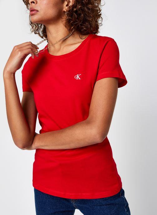 Vêtements Calvin Klein Jeans CK Embroidery Slim Tee Rouge vue droite