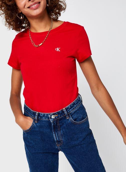Vêtements Calvin Klein Jeans CK Embroidery Slim Tee Rouge vue détail/paire