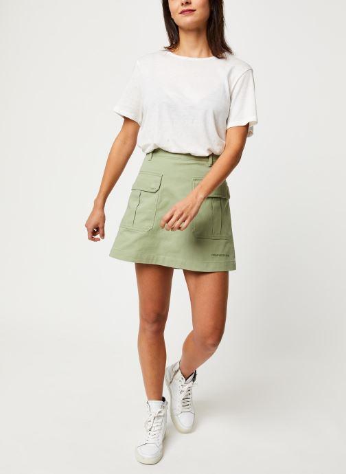 Vêtements Calvin Klein Jeans Cotton Twill Utility Mini Skirt Vert vue bas / vue portée sac