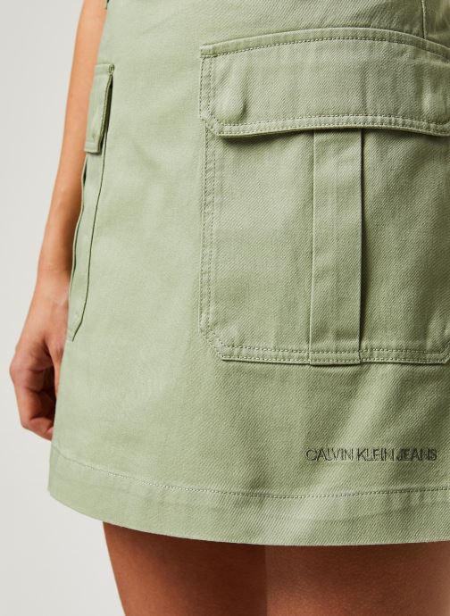 Vêtements Calvin Klein Jeans Cotton Twill Utility Mini Skirt Vert vue face