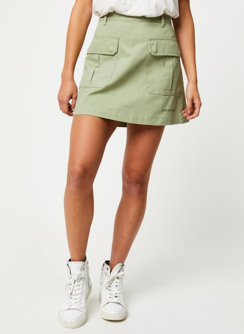 Vêtements Calvin Klein Jeans Cotton Twill Utility Mini Skirt Vert vue détail/paire
