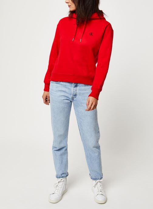 Vêtements Calvin Klein Jeans CK Embroidery Hoodie Rouge vue bas / vue portée sac