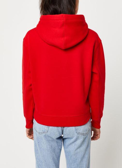 Vêtements Calvin Klein Jeans CK Embroidery Hoodie Rouge vue portées chaussures