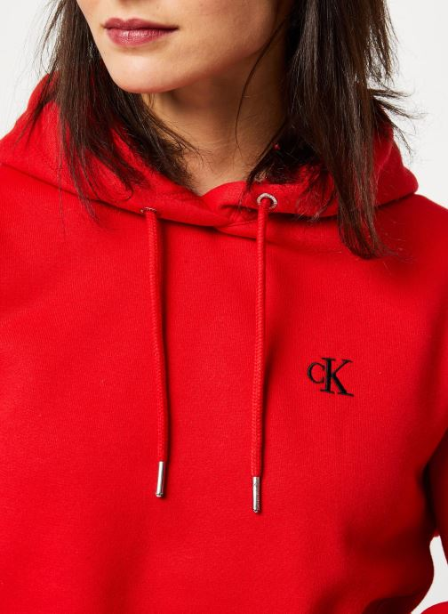 Vêtements Calvin Klein Jeans CK Embroidery Hoodie Rouge vue face