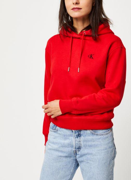 Vêtements Calvin Klein Jeans CK Embroidery Hoodie Rouge vue droite