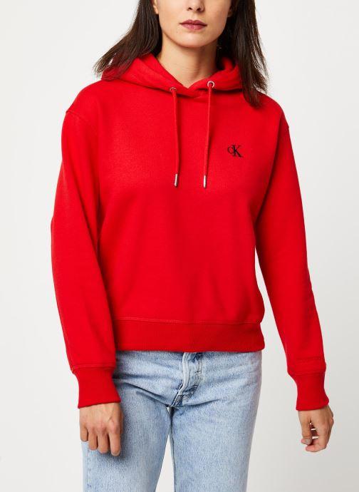 Vêtements Calvin Klein Jeans CK Embroidery Hoodie Rouge vue détail/paire