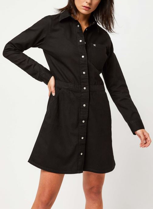 Vêtements Calvin Klein Jeans Long Sleeve Desert Dress Noir vue droite