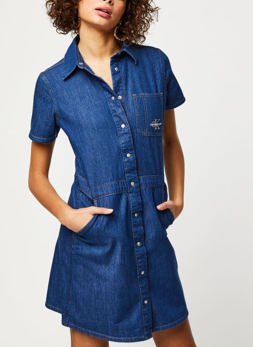 Vêtements Calvin Klein Jeans Short Sleeve Desert Diner Dress Bleu vue droite