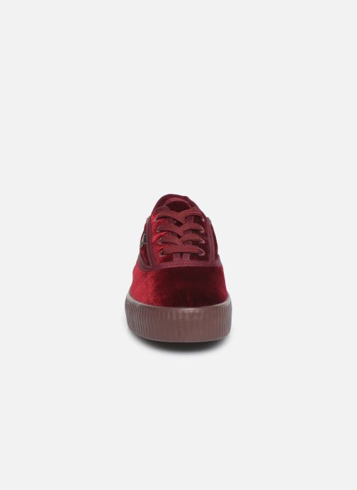 Baskets Pepe jeans Hannah Velvet Bordeaux vue portées chaussures