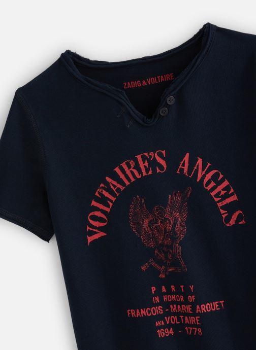 Vêtements Zadig & Voltaire T-shirt X25191 Bleu vue portées chaussures