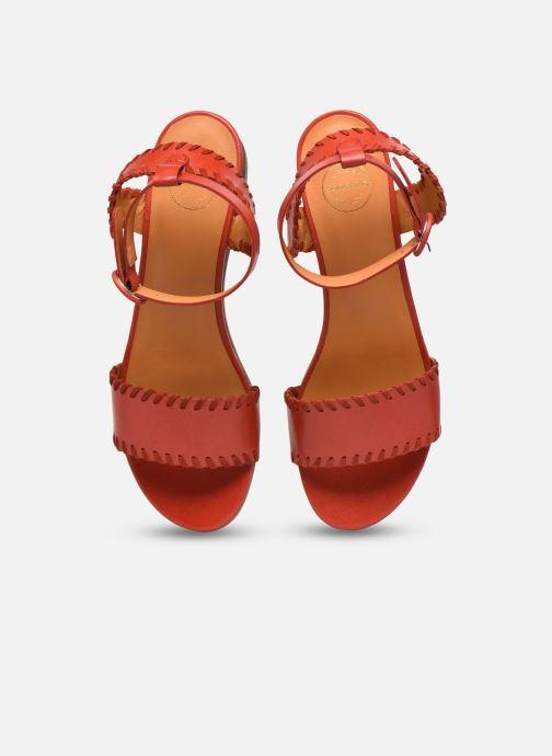 Sandales et nu-pieds Made by SARENZA South Village Sandales Plates #4 Rouge vue portées chaussures
