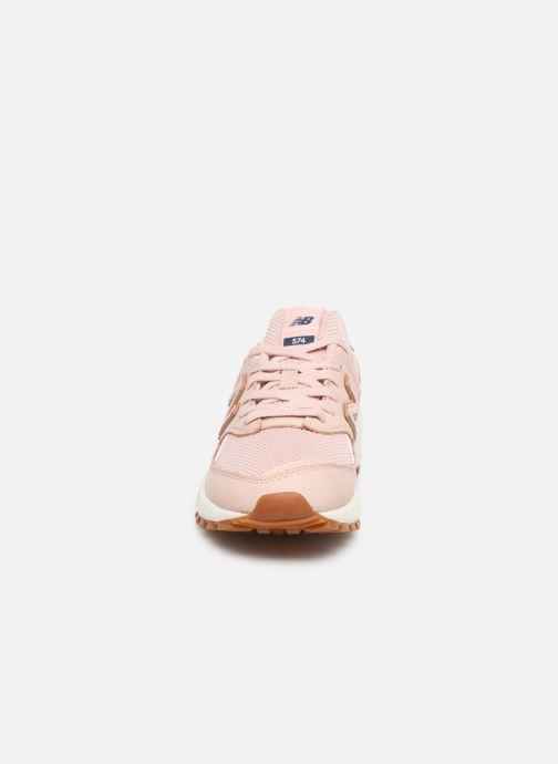 Baskets New Balance WS574 B Rose vue portées chaussures