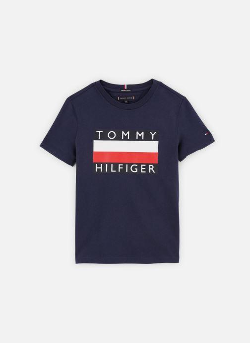 Vêtements Tommy Hilfiger T-shirt Essential Hilfiger Tee S/S KB0KB05547 Bleu vue détail/paire