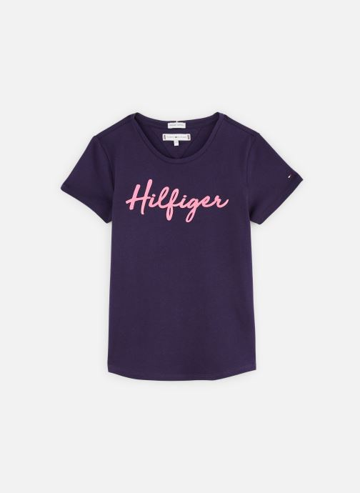 Vêtements Tommy Hilfiger T-shirt Hilfiger Tee S/S Bleu vue détail/paire