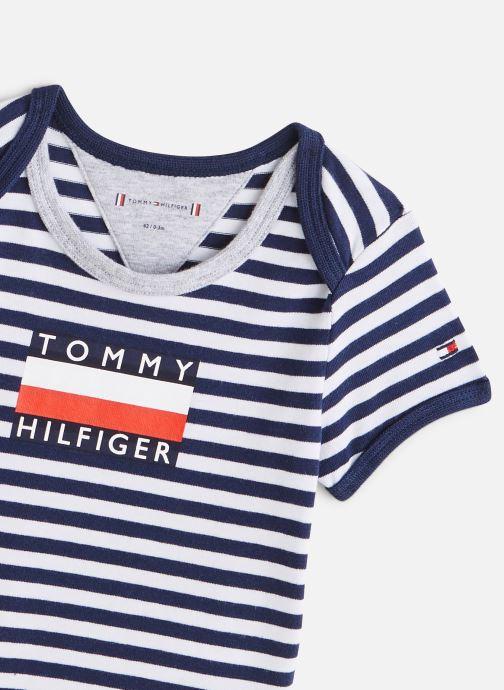Vêtements Tommy Hilfiger Body manches courtes Baby Striped Body S/S Bleu vue portées chaussures
