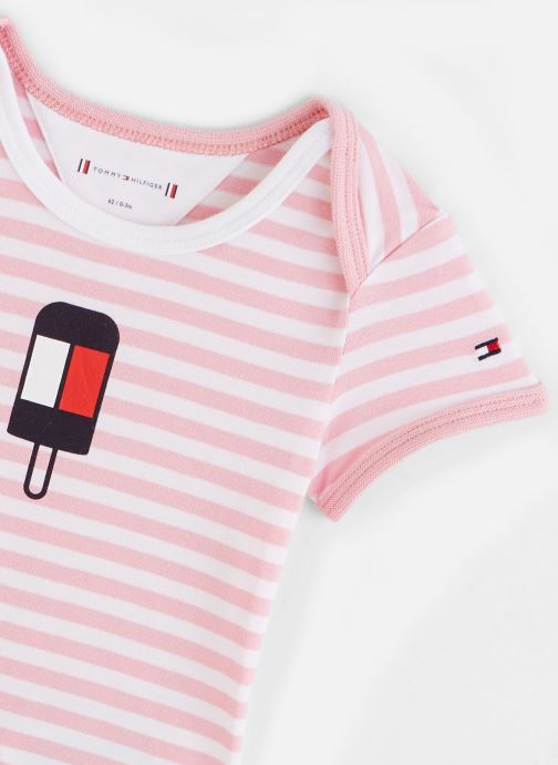 Tøj Tommy Hilfiger Body manches courtes Baby Striped Body S/S Pink se skoene på
