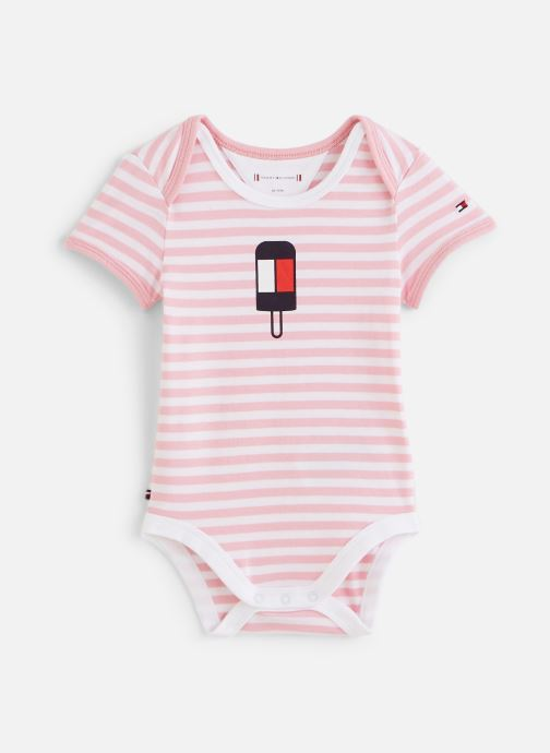 Vêtements Tommy Hilfiger Body manches courtes Baby Striped Body S/S Rose vue détail/paire