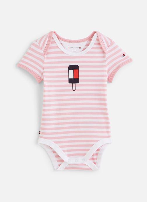 Vêtements Tommy Hilfiger Body manches courtes Baby Striped Body S/S Rose vue détail/paire