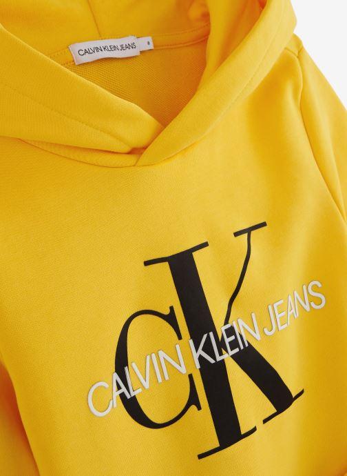 Vêtements Calvin Klein Sweatshirt Monogram Hoodie Jaune vue portées chaussures