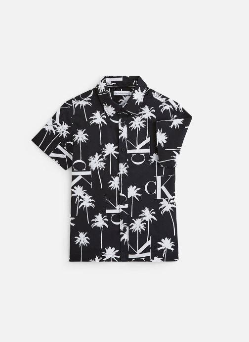 Kleding Calvin Klein Chemise Palm Aop Ss Zwart detail