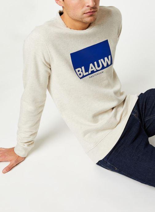 Vêtements Scotch & Soda Ams Blauw signature crew neck sweat Gris vue droite