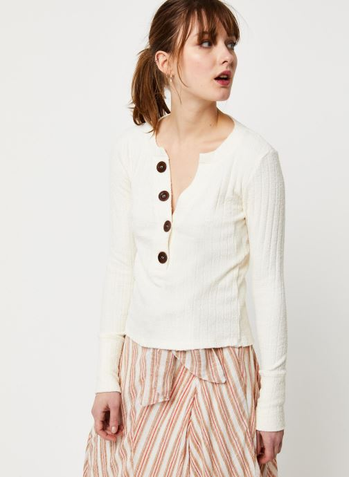 Vêtements Free People OLIVER HENLEY TEE Blanc vue droite