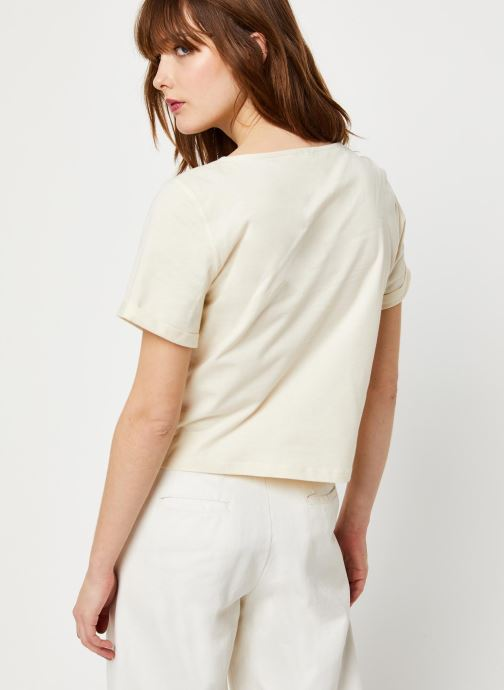 Vêtements Free People WHAT'S UP HENLEY TEE Blanc vue portées chaussures