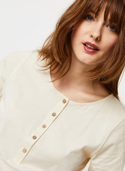 Vêtements Free People WHAT'S UP HENLEY TEE Blanc vue face