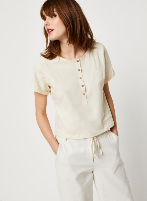 Vêtements Free People WHAT'S UP HENLEY TEE Blanc vue droite