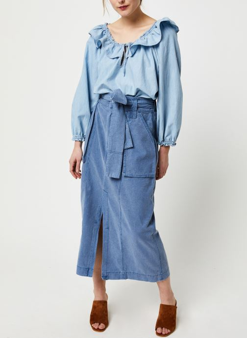 Vêtements Free People LILY OF THE VALLEY CHAMBRAY BLOUSE Bleu vue bas / vue portée sac