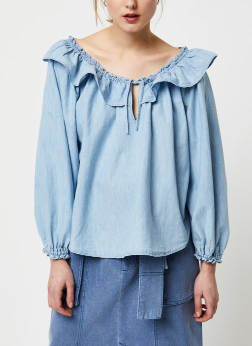 Vêtements Free People LILY OF THE VALLEY CHAMBRAY BLOUSE Bleu vue droite