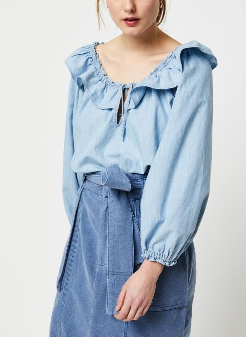 Kleding Free People LILY OF THE VALLEY CHAMBRAY BLOUSE Blauw detail